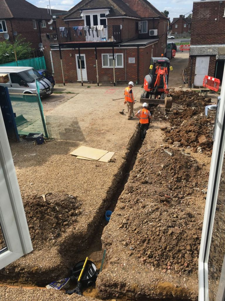 Aerial view of trenches for drainage pipes