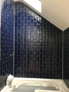 Bathroom deep blue Metro tiles