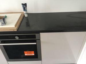 Kitchen semi-gloss black laminate worktop