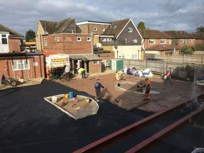 Tarmac being laid and rolled2