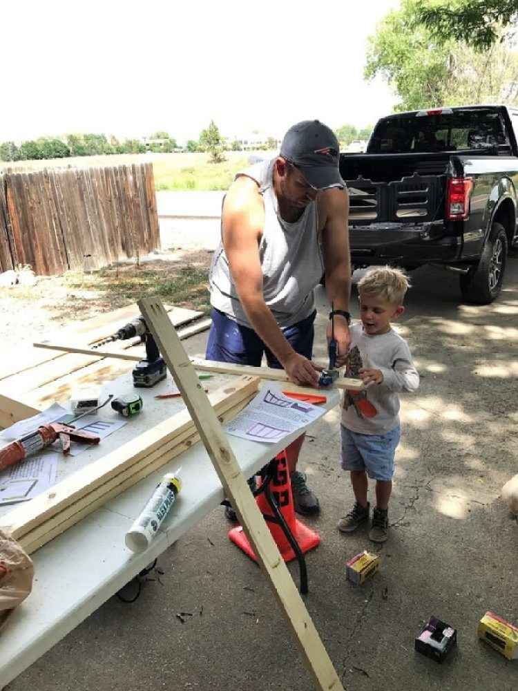 Chris and Thomas build the DIY bench for the mudroom makeover.
