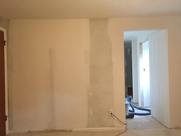 Drywall installed after the master suite layout was updated.
