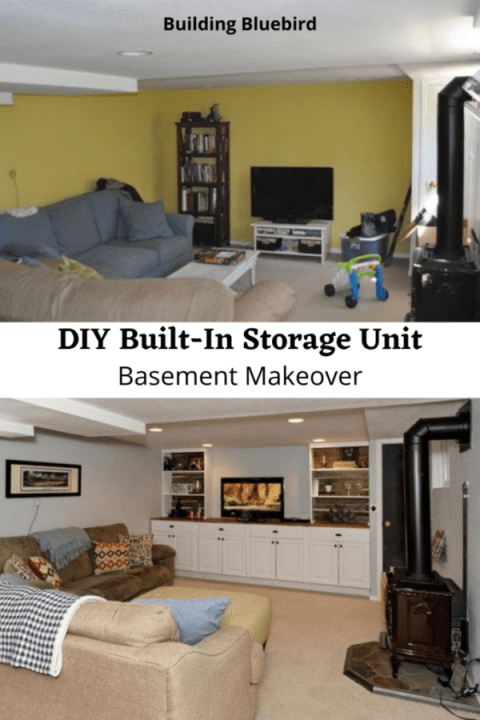 How to add storage to your basement for maximum function | Building Bluebird #diystorage #basementmakeover