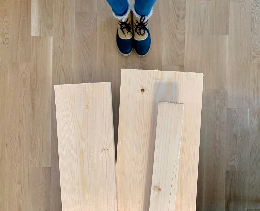 White common board from Home Depot to build the art ledge