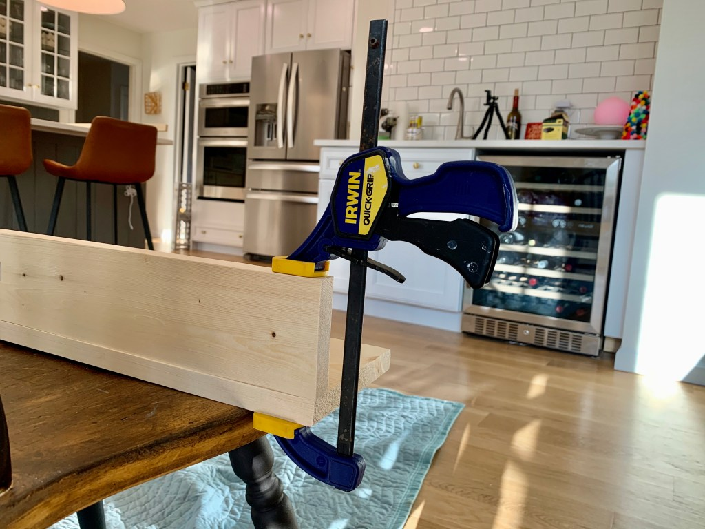 Clamping wood together to create a picture ledge