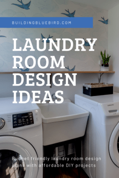 Affordable DIY projects to transform your boring laundry room into an inspiring space! #diy #laundryroom #budgetfriendlydesign