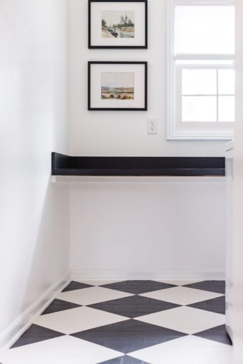 How to paint a checkered pattern on old linoleum floors using Rust-Oleum HOME floor paint | Building Bluebird #laundryroommakeover #diy #tutorial #beforeandafter