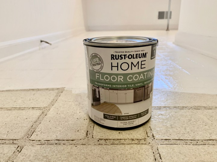 Budget-friendly laundry room makeover with linoleum floor painting tutorial | Building Bluebird #diy #rustoleum #prideinthemaking