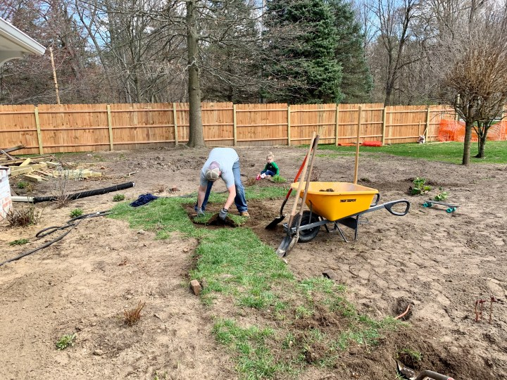 Prepping the area where I planned on adding an English Garden