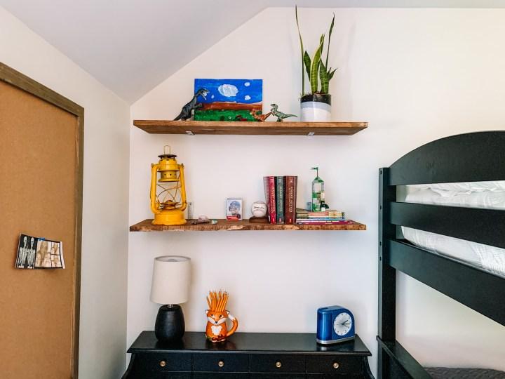 Desk & open shelves in my sons bedroom