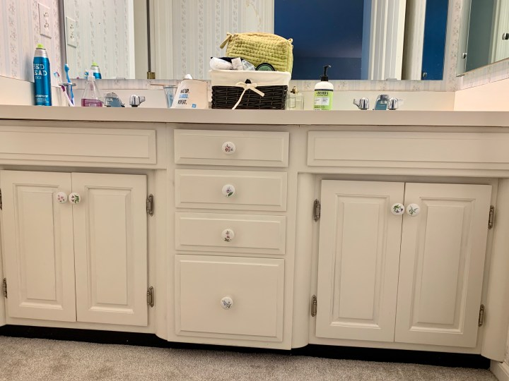 Built-in vanity in 1960's bathroom