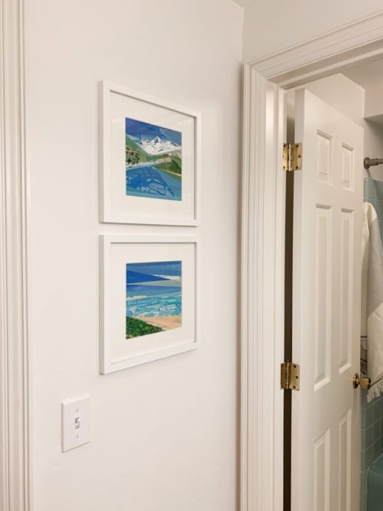 Original artwork in this master bathroom makeover | Building Bluebird