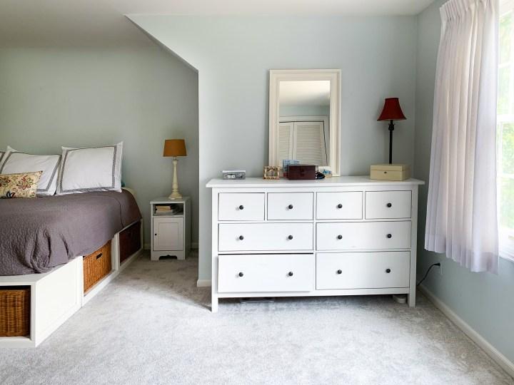 IKEA Hemnes dresser before the IKEA hack and bedroom makeover | Building Bluebird #ikeahack #orc #moodybedroom