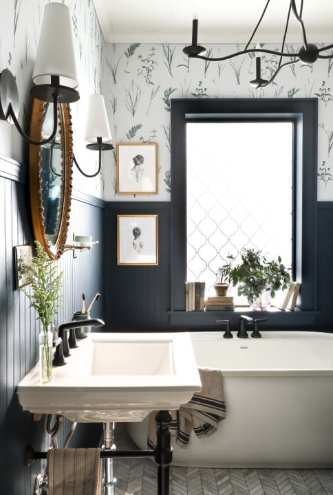 Chimney by Behr in I Spy DIY's bathroom makeover | Building Bluebird #moodypaintcolors