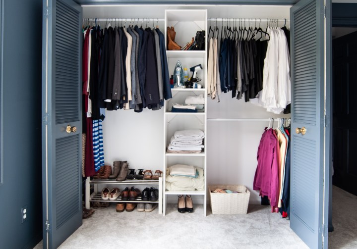 Master bedroom closet organization | Building Bluebird #orc #bhgorc #homeedit #mariekondo #closetmaid