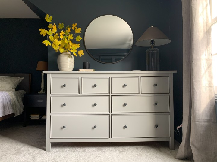 Modern and moody master bedroom with affordable IKEA dresser hack | Building Bluebird #orc #moodybedroom