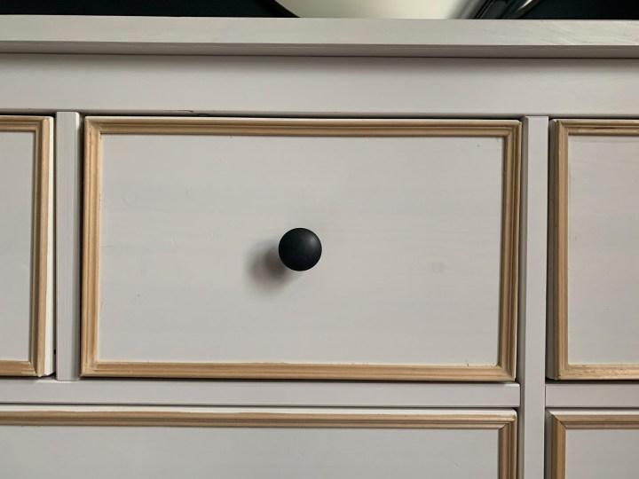IKEA Hemnes dresser with trim framing each inset drawer | Building Bluebird #ikeahack #diy #bhgorc