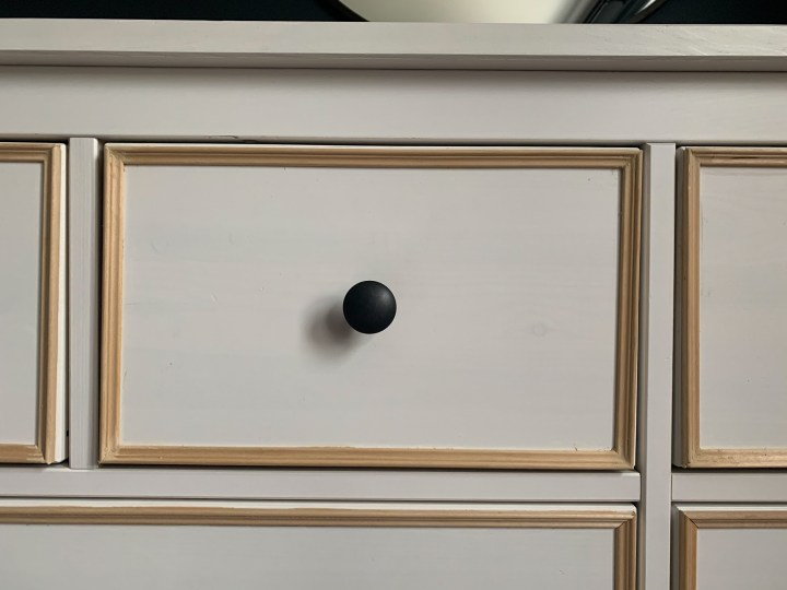 IKEA Hemnes dresser with trim framing each inset drawer | Building Bluebird #ikeahack #diy #bhgorc
