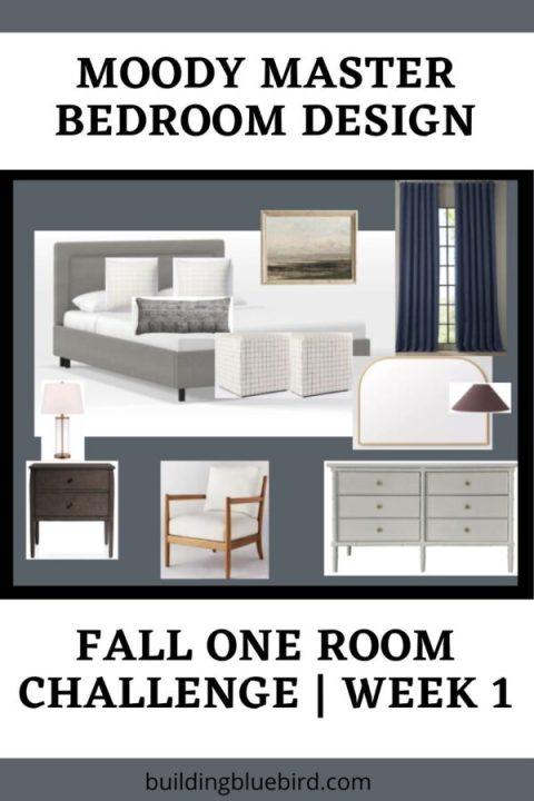 Moody master bedroom design plans | Building Bluebird #oneroomchallenge #bhgorc #outerspace #swcolorlove #westelm