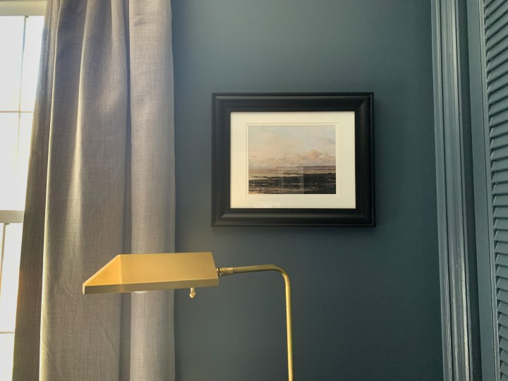Heirloom print shop digital download of a seascape to compliment the moody blue walls | Building Bluebird #masterbedroom #bhgorc #sw6251 #outerspace