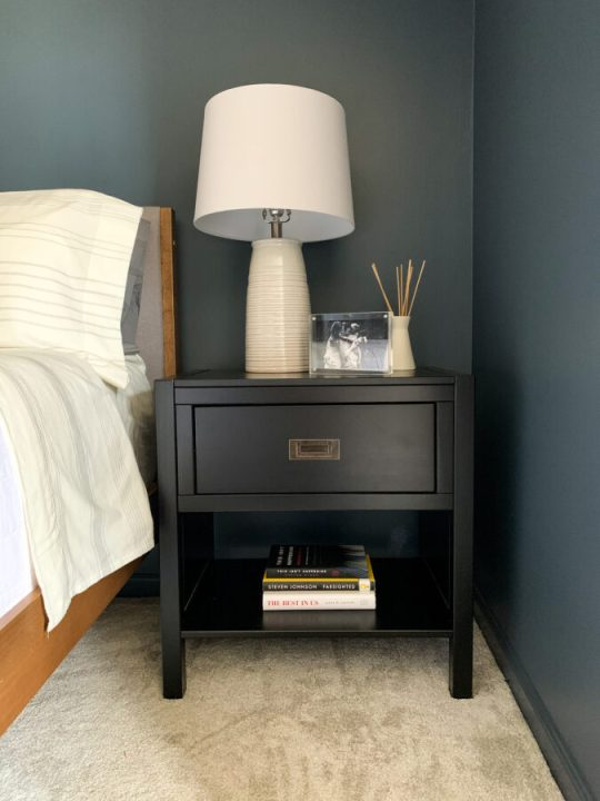 Modern black nightstand with storage in our modern master bedroom makeover | Building Bluebird #target #sw6251 #outerspace