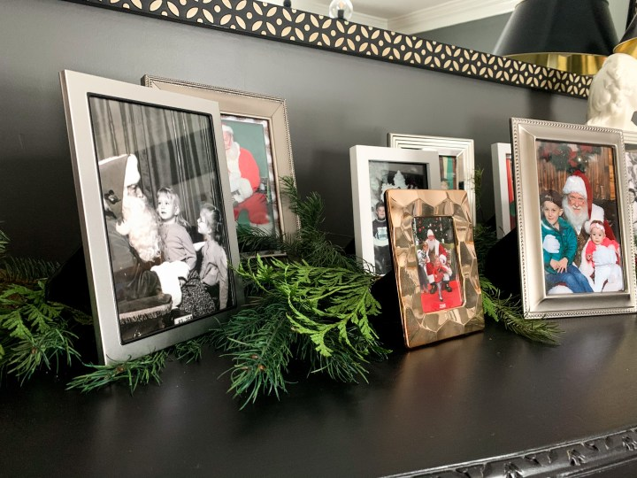 Old family Santa visit photos are a great way to decorate for the holidays | Building Bluebird #santa #christmasdecor #holidays