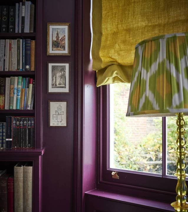 Brinjal by Farrow and Ball in the study of Ben Petreath via House Beautiful   Building Bluebird #grandmillennial #cottagecore #englishestate