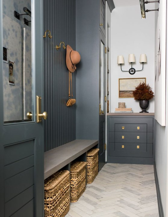 Down Pipe by Farrow and Ball with mudroom design by Whittney Parkinson   Building Bluebird #grandmillennial #cottagecore #mudrooom