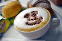 A happy cappuccino in Amalfi, Italy.