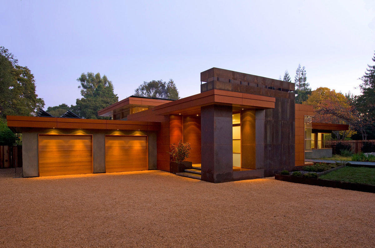 Wheeler Residence Menlo Park California Garages Lighting Entrance
