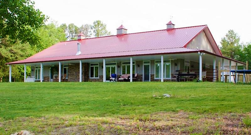 Pole barn homes with wrap around porch for Metal building house with wrap around porch