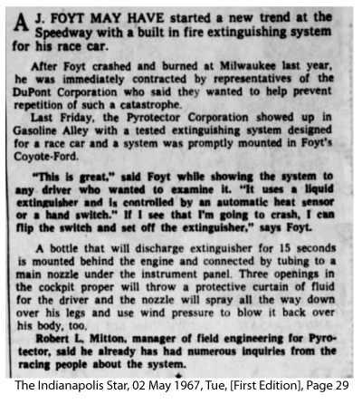 The Indianapolis Star story about AJ Foyt starting a trend with in-car fire extinguishing systems