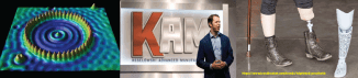 Header with a quantum corral, Keselowski at the KAM launch, and a 3d-printed prosthetic leg