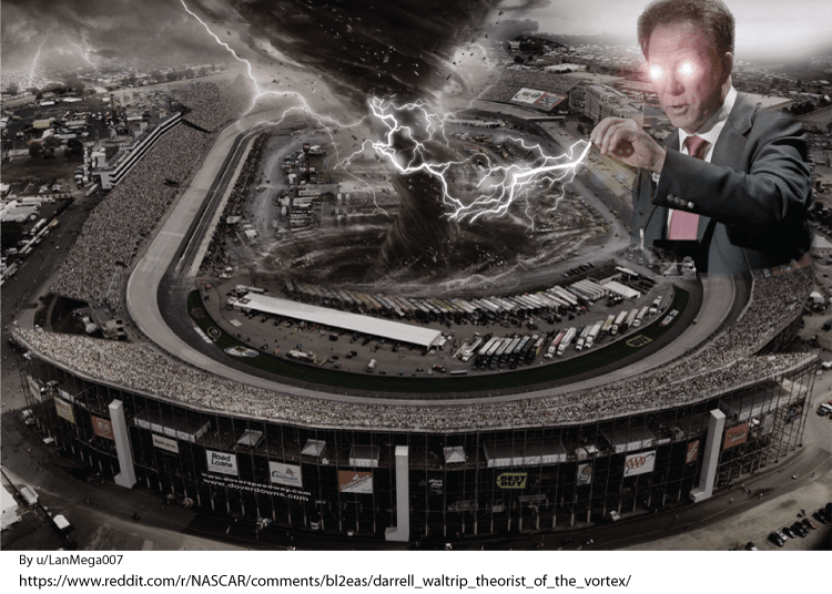 A photo montage of DW creating a vortex at a track.