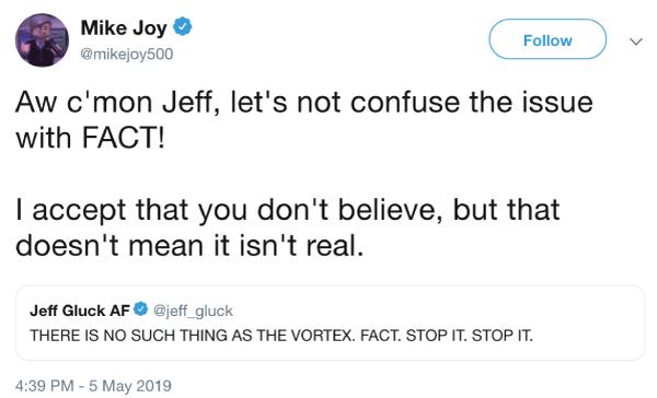Mike Joy's tweet trolling Gluck