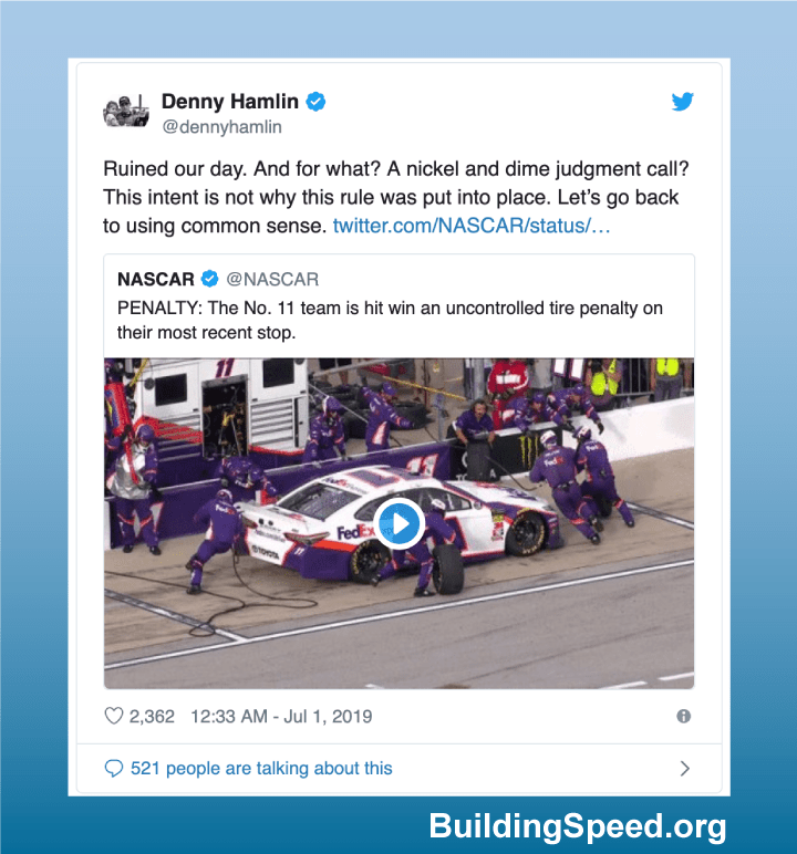 Denny Hamlin tweet in response to his fifth Uncontrolled Tire Penalty of the season in Chicago