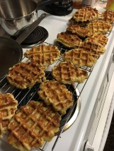 Notice the two waffle irons used. One has quadrants, one does not. The waffle iron, the waffle is a bit harder in this section