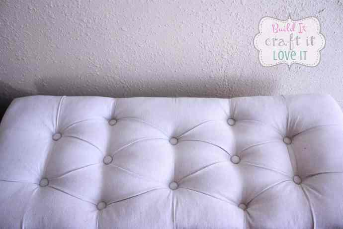 DIY Pottery Barn Knockoff Drop Cloth Upholstered Storage Bench