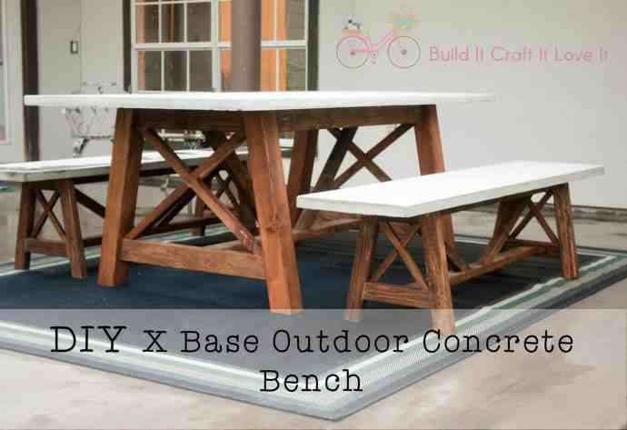 X Base Outdoor Concrete Bench