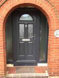 Composite front door grey with side panels