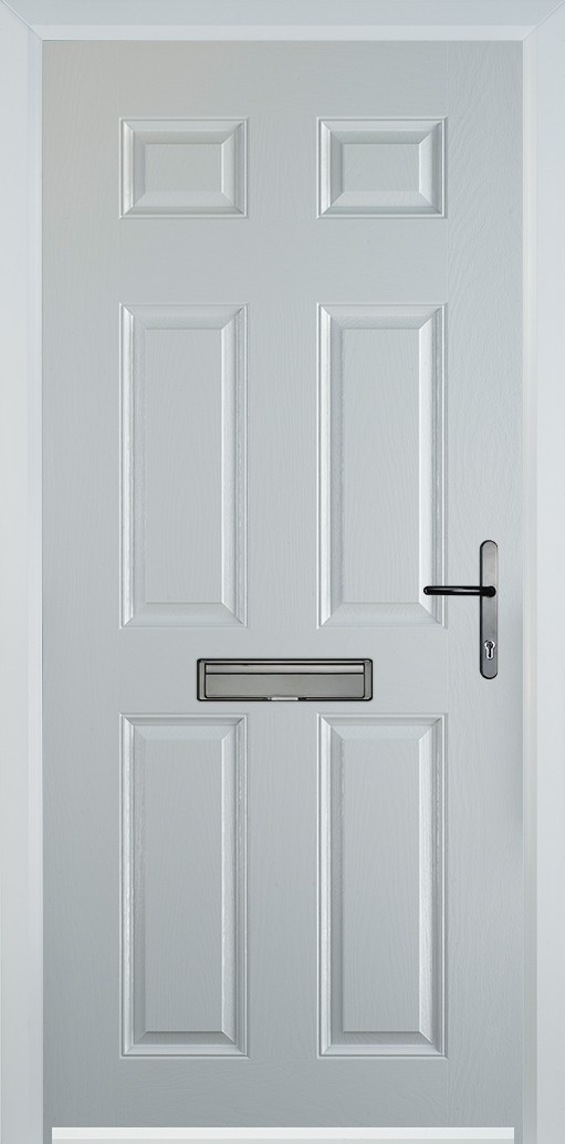 6 panel white composite door with black hardware