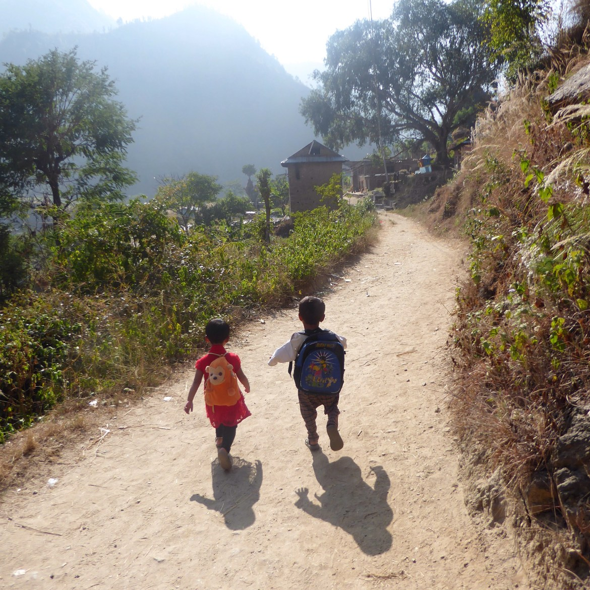 Children Walk To Their Temporary School