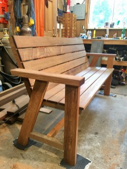 custom made natural wood bench with locally sourced materials