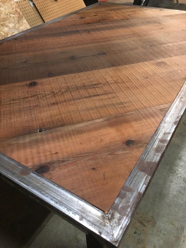 metal fabrication details on custom built table