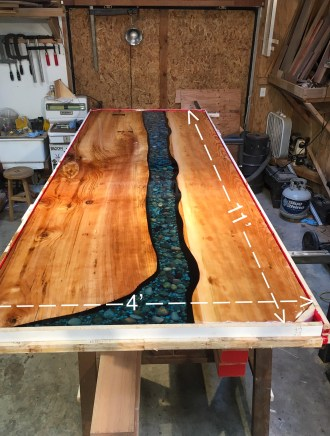 giant slab resin pour river table