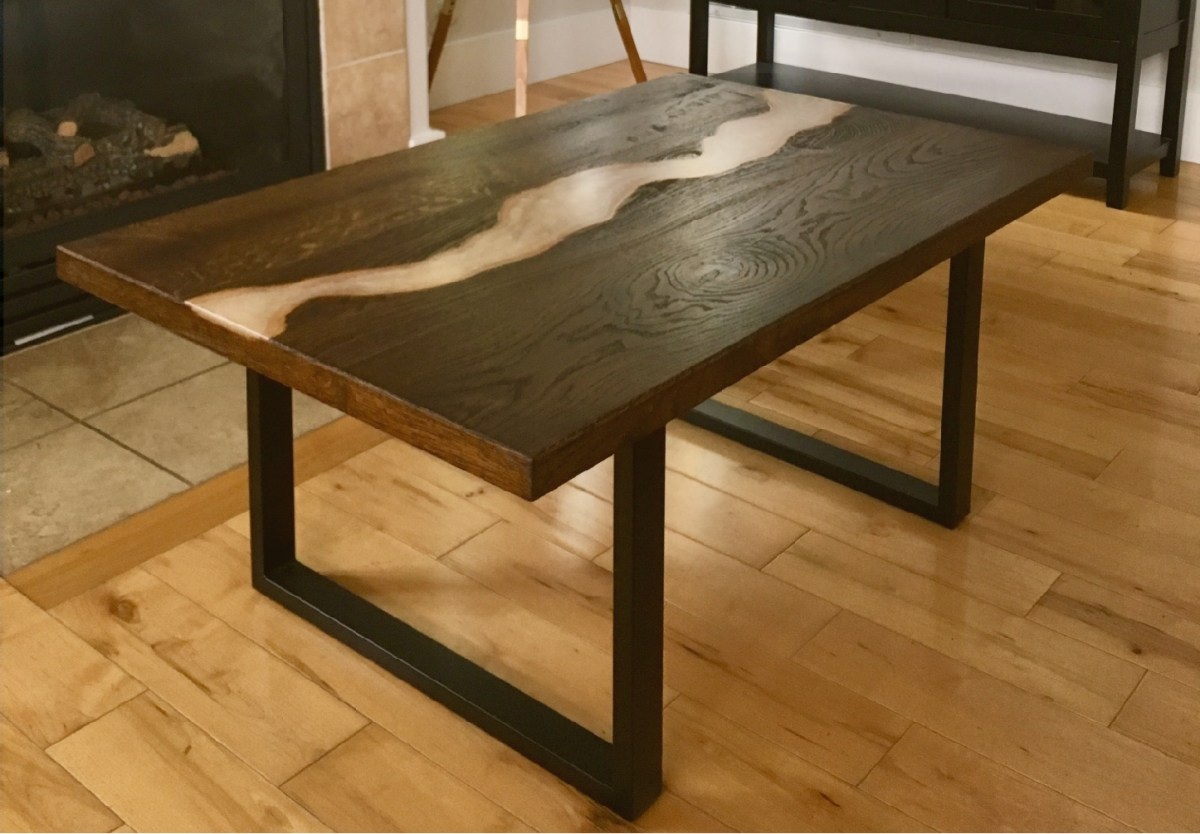 walnut and pearl epoxy river table for custom woodworking