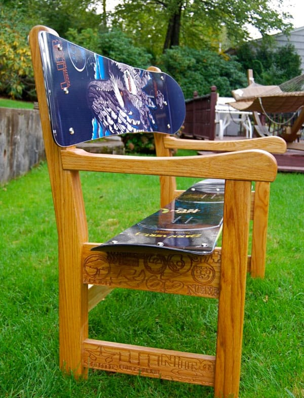 Build a snowboard bench seat for Skateboard chair plans