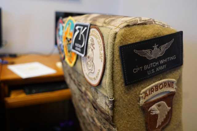 Military patches on chair