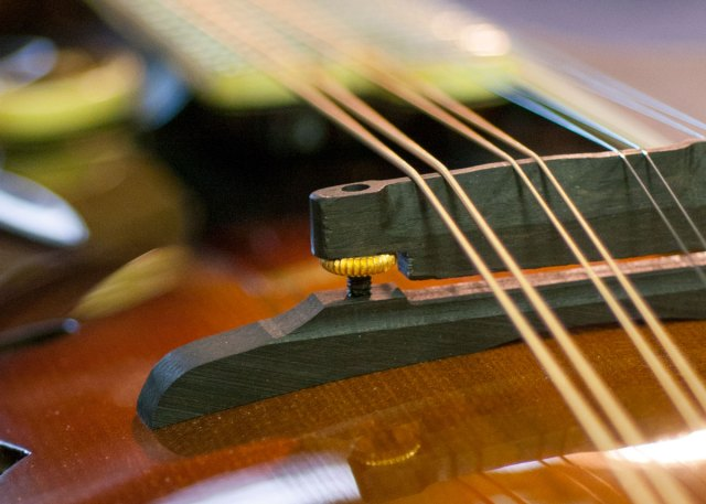 Closeup of mandolin strings