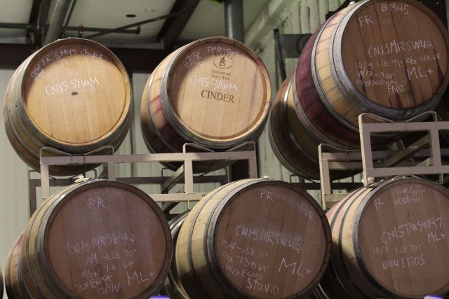 "Wine barrels with one marked ""Cinder"""